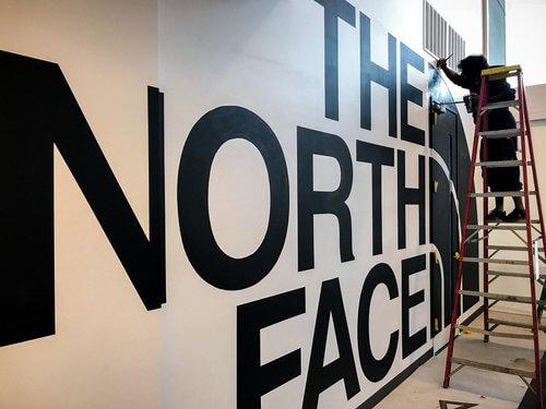 North Face Mural in progress