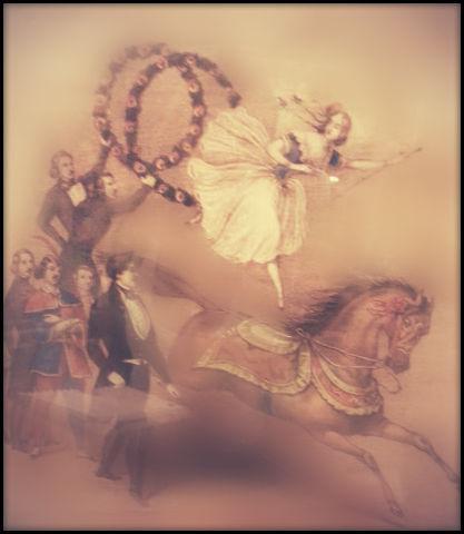 Muchacha italiana talentosa: atravesaba treinta aros seguidos, saltando sobre su caballo, mientras éste corría alrededor de la manège. Fuente: cuadro que forma parte de la colección del museo.
