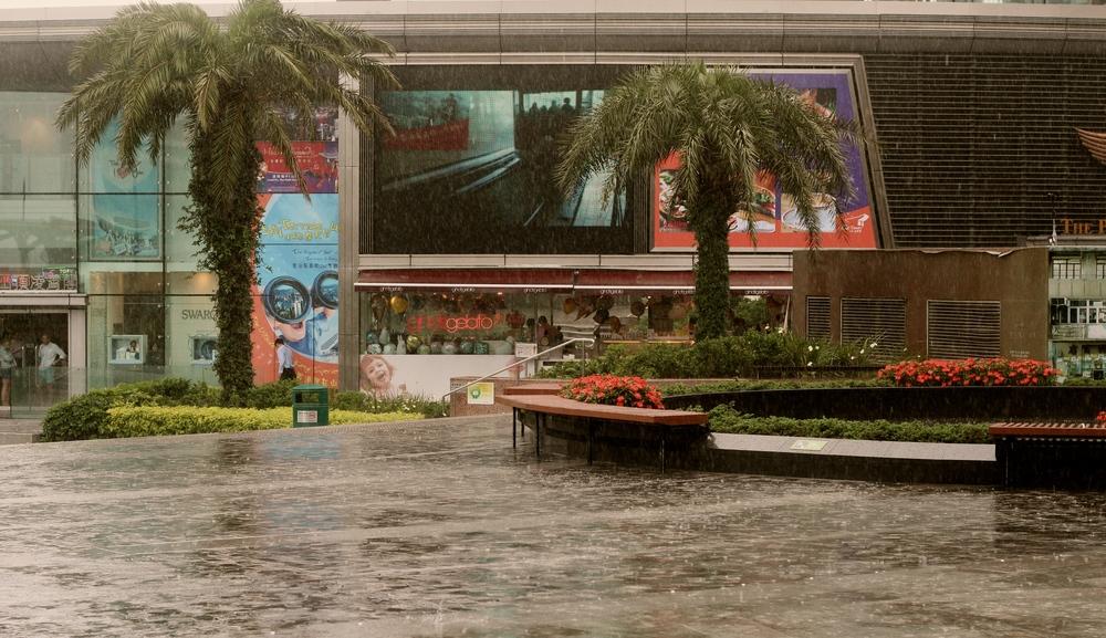 Precipitaciones fuertes en la cima. La montaña es tan alta que llega hasta las nubes más lluvientas de la ciudad. Basta con comenzar a bajar para encontrar espacios menos húmedos (ver la foto de abajo). Hong Kong - Mayo 2015