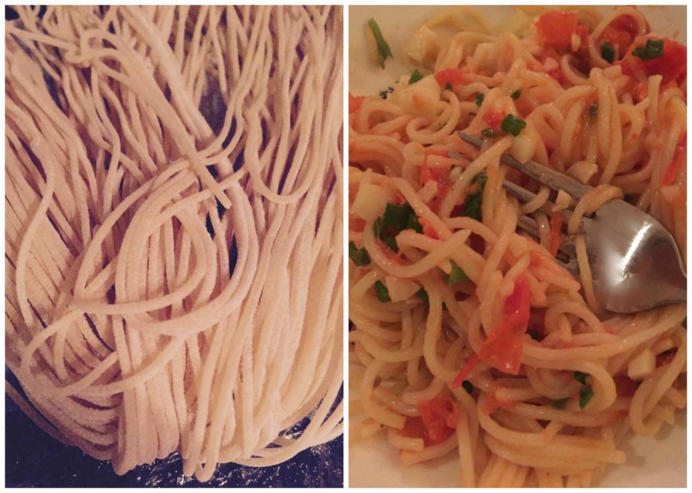 Ventajas y delicias de vivir cuatro cuadras atrás de Little Italy. Spaghetti frecos y artesanales. San Diego, CA, EEUU.Febrero 2016