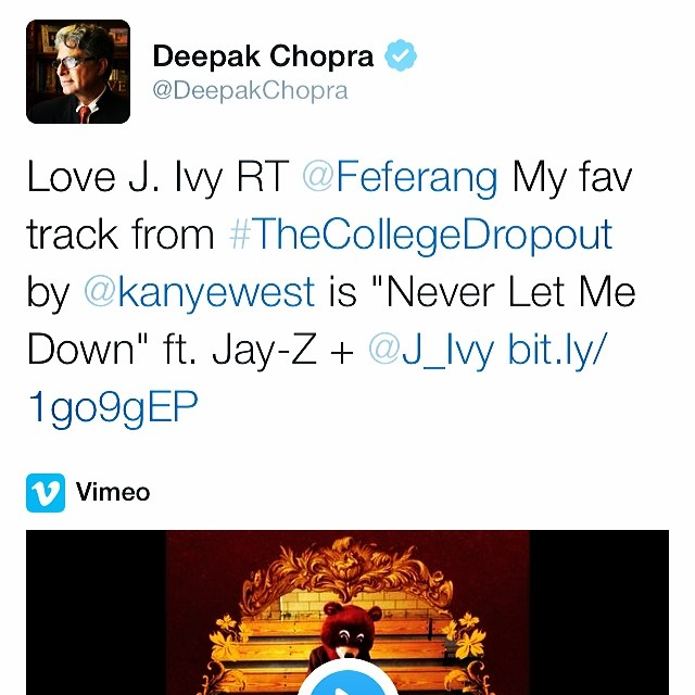 LOVE MY PEOPLE!! @DeepakChopra @FeFerang @KanyeWest  #CollegeDropout   #NeverLetMeDown  #10YearAnniv