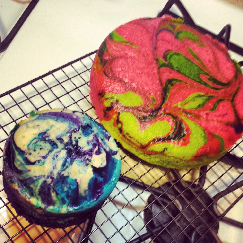 Colorful swirl cakes.