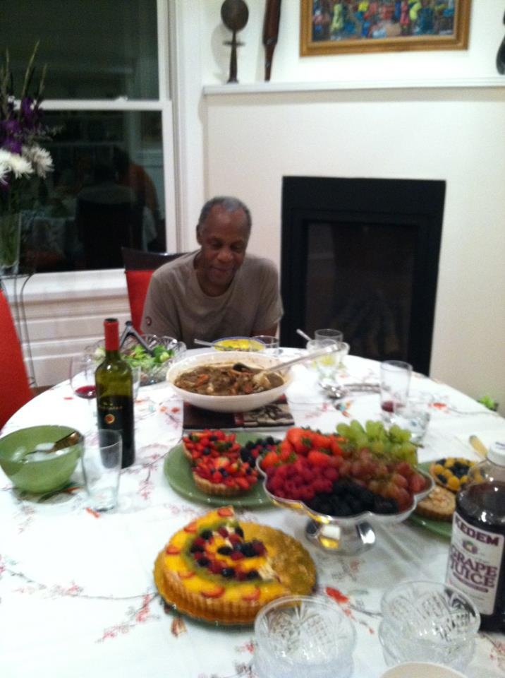 Actor Danny GLover eating a trio of my tarts at his home in San Francisco!