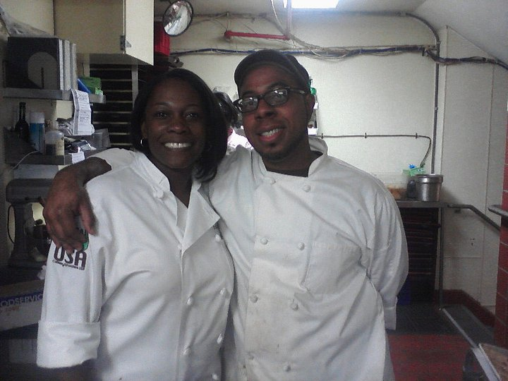 Top Chef: Just Desserts contestant Erika Davis and I in Seattle working the Minority Chef's Summit 2011.