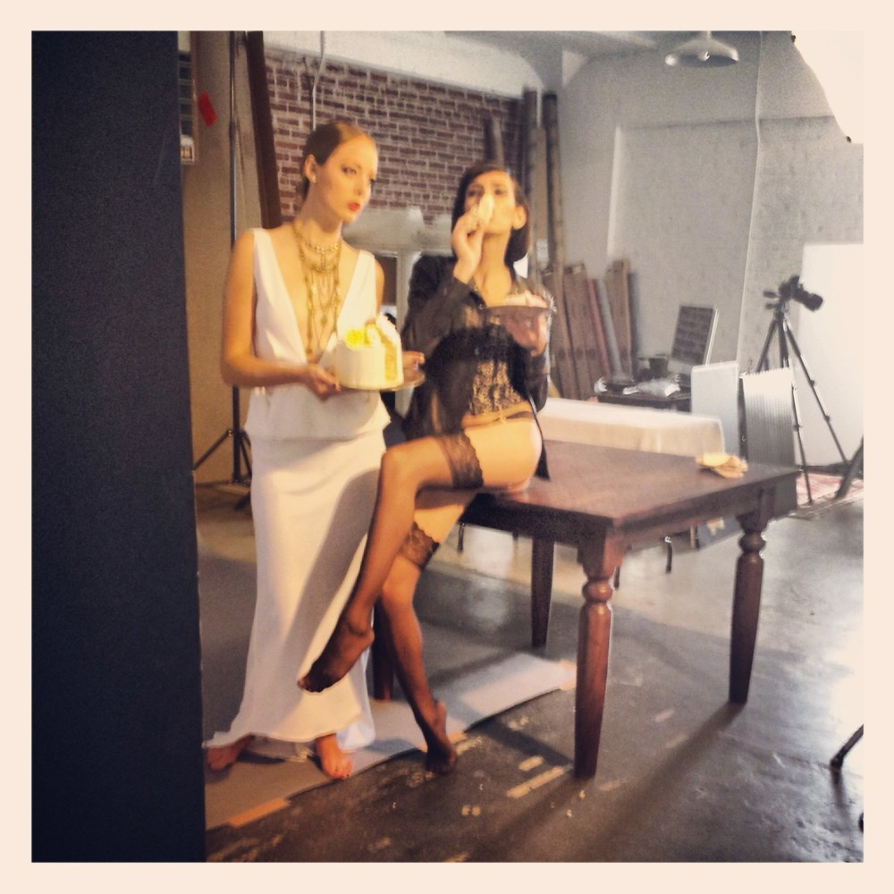 More behind the scenes fun with models Julia and Erin...and my cake.