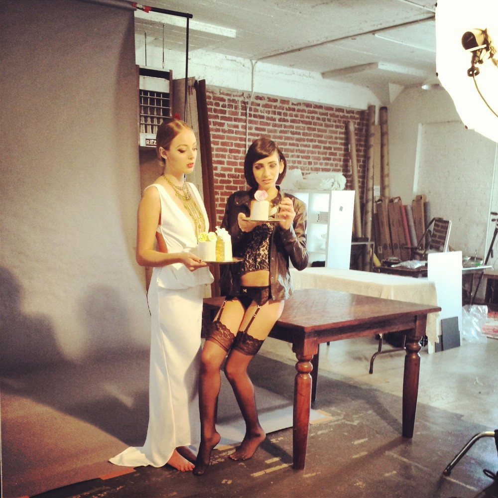 Behind the scenes of a glamorous photoshoot with 2 beautiful models and my cake!