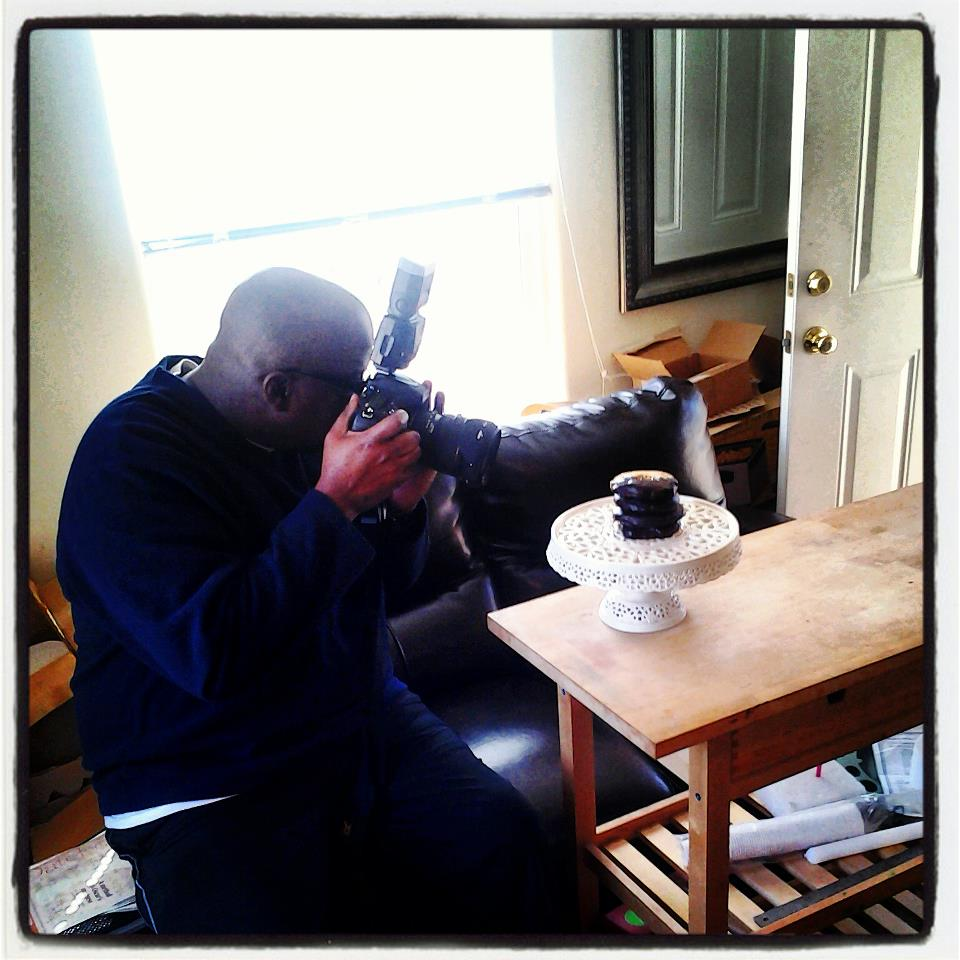 Photographer James Knox snapping cookie photos at my place.