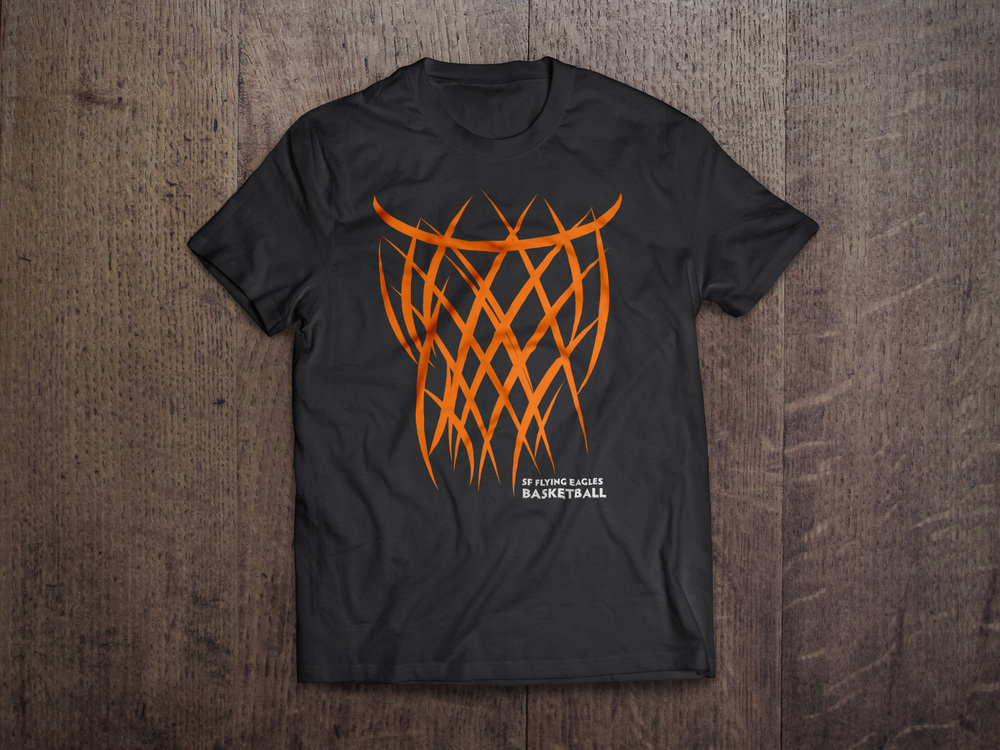 Flying eagles basketball justin macha art director for Basketball team shirt designs