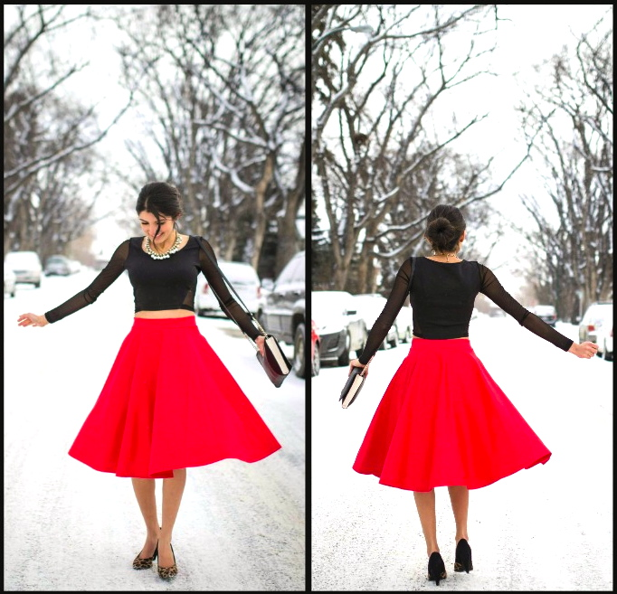 Red full midi skirt — Sheena Virmani