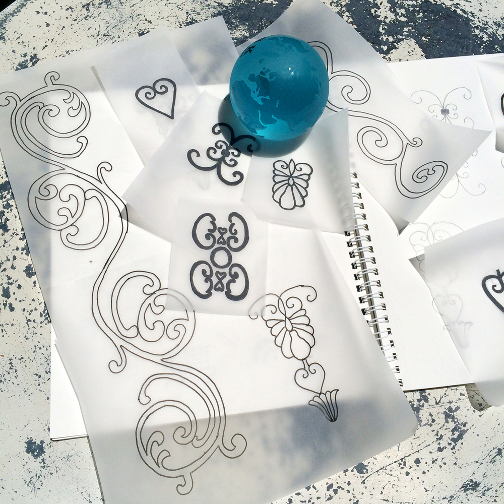 Drawing on tracing paper is a quick way to easily see a repeat