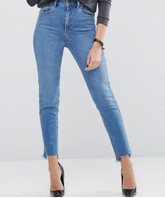 Blue Jeans raw hem Minimal Style Daily