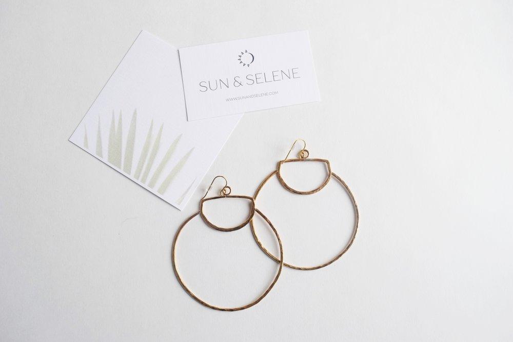Sun and Selene Hoop Earrings