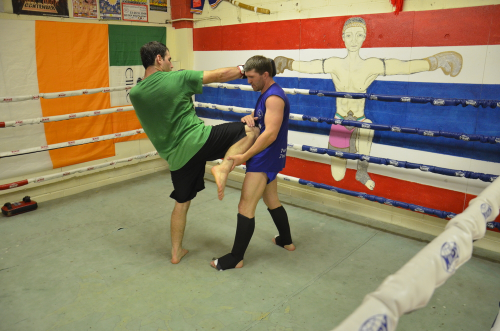 Greg training in the Muay Thai gym