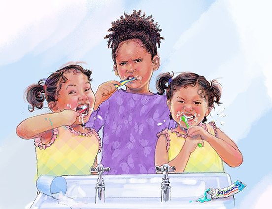 Pamela and the Twins brushing teeth finishsmall.jpg