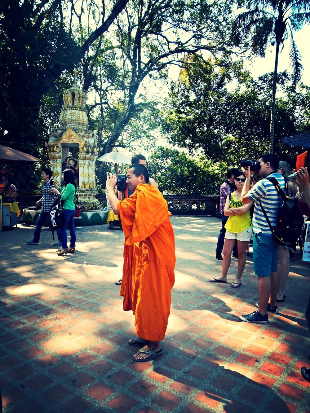 Buddhist Monk Taking Photo Doi Suthep Chiang Mai Thailand