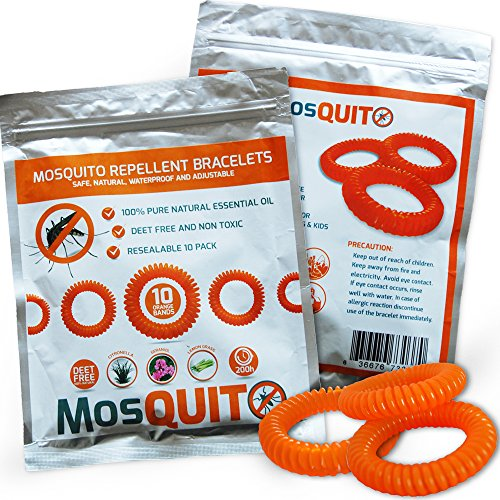 Mosquito Repellent Bracelets 10 pack – Safe, Natural, Waterproof Wristband with Citronella Lemongrass Geraniol – 100% Pure Natural Essential Oil