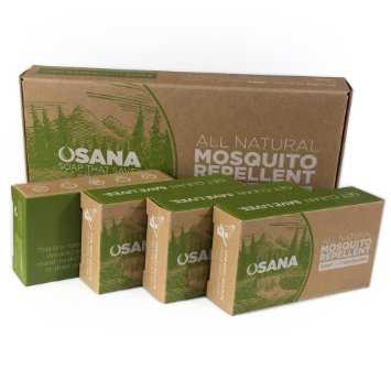 All Natural Mosquito Repellant Soap: Osana believes mosquito related deaths are preventable & donates 1 of every 4 bars produced to those threatened by malaria.