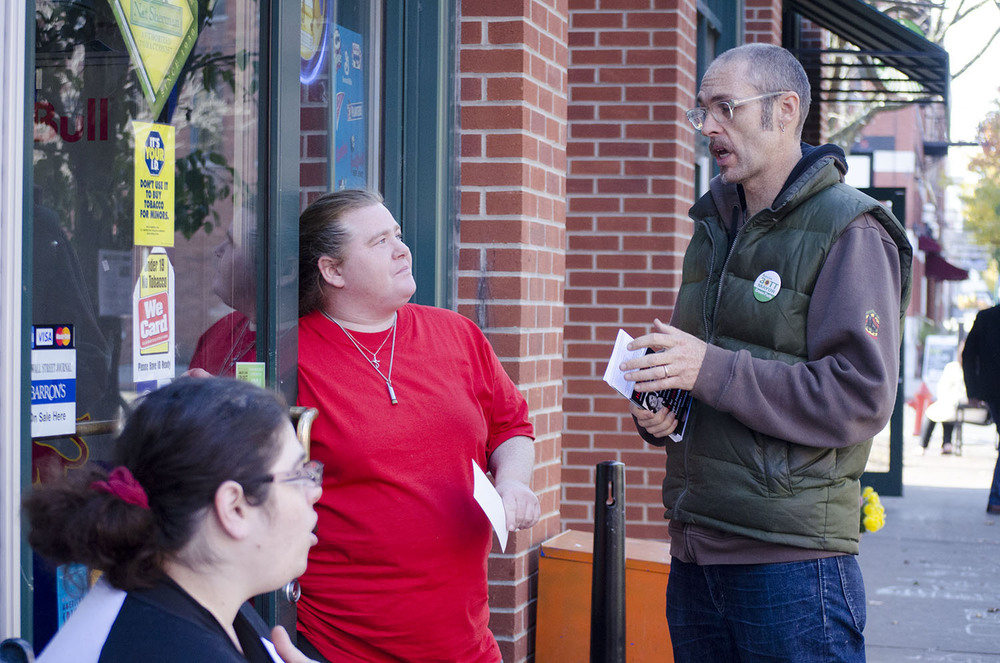 On a walk through Armory Square, Bott stopped to talk to Mary Beth Langendorf, 28, and Cindi Stott, 25, who both were interested in learning more about his platform. Mary Beth, a registered Democrat is anxious to vote against Democratic candidate Stephanie Miner after she closed a local senior center and fire station.