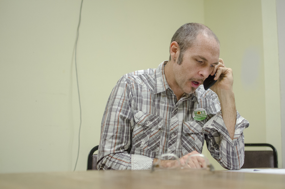 Toward the end of election day, in a final attempt to get out the vote, Bott makes some phone calls to Syracuse residents, checking to see if they have headed to the polls.