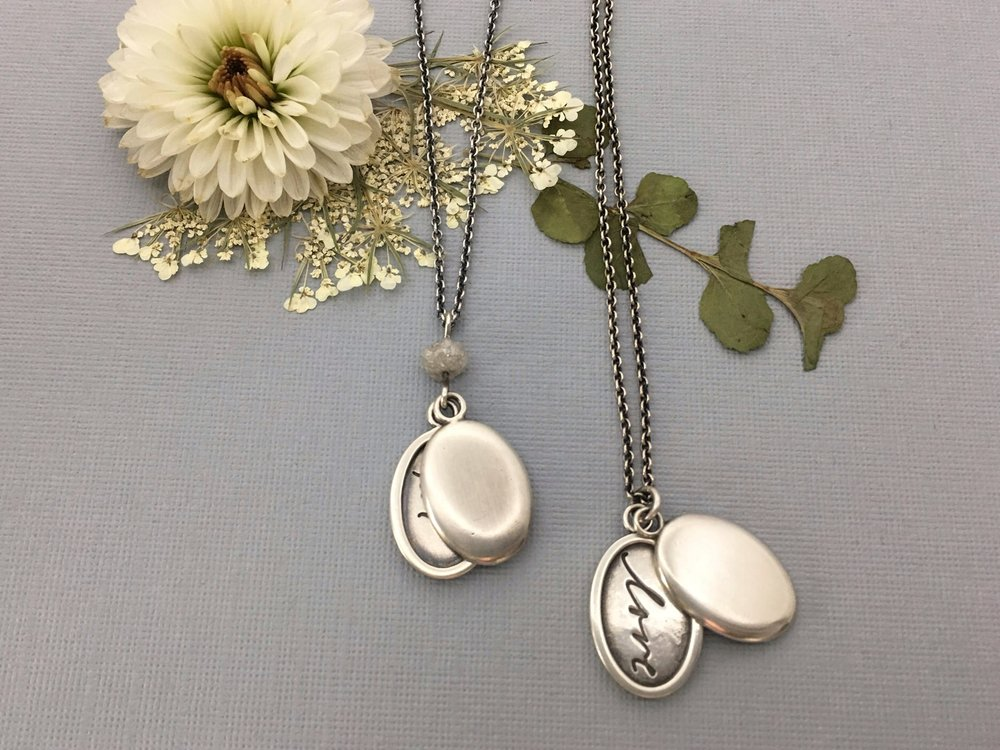 Handwriting Locket with Rough Diamond
