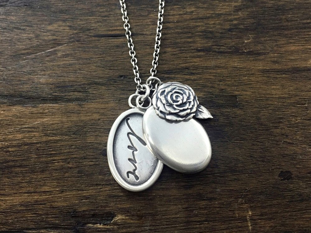 Handwriting Locket with Camellia