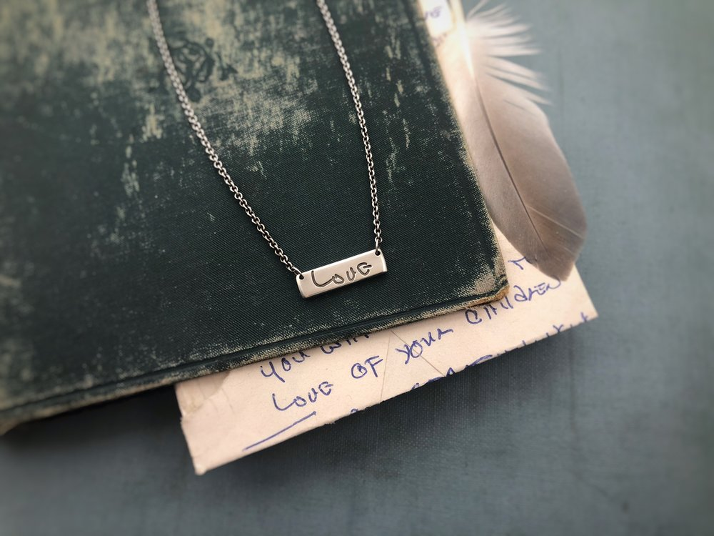 True Love Handwriting Necklace with book.JPG