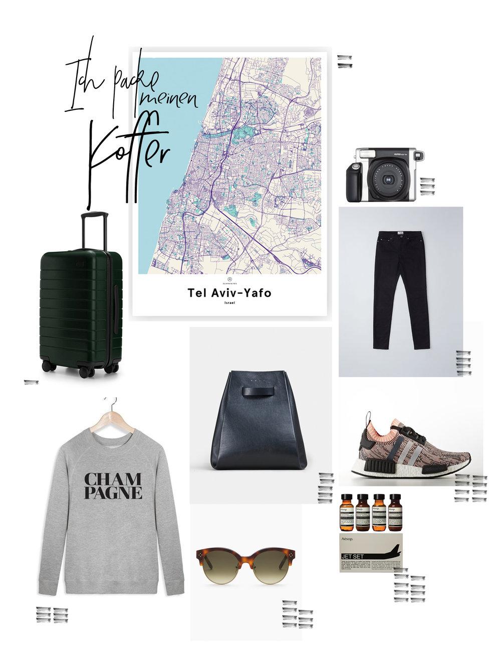 Ich packe meinen Koffer für Tel Aviv. Collage auf herzundblut. Kategorie: Travel. Away, Aesop, Adidas, Chloe....