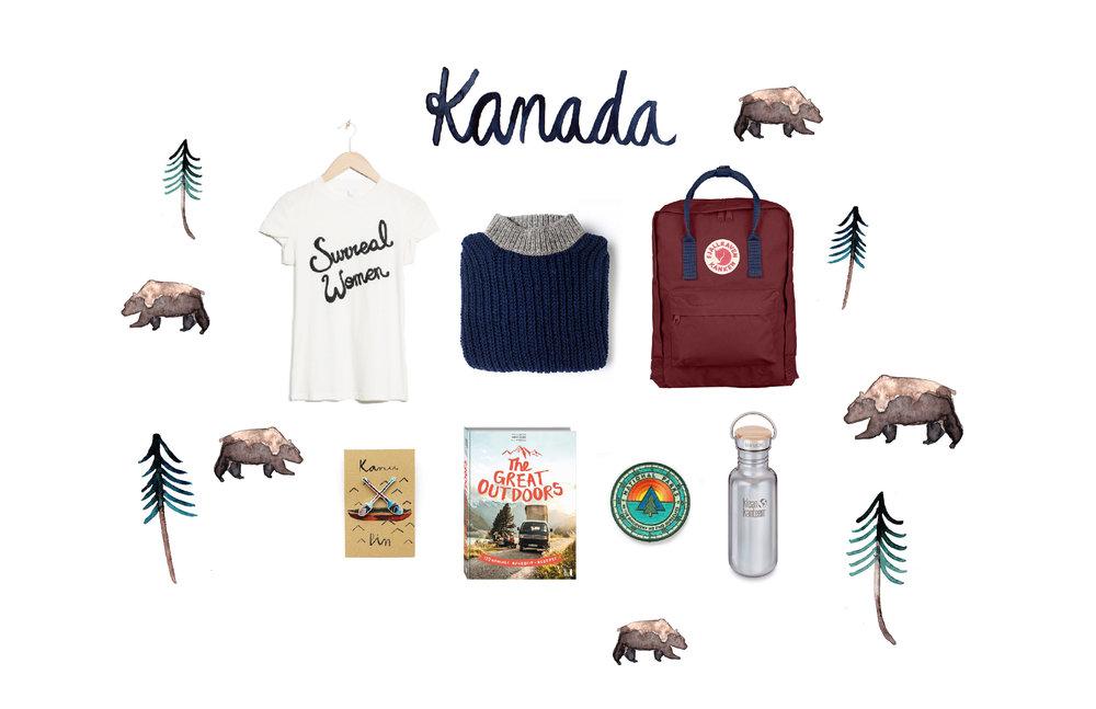 1.T-Shirt für warme sonnige Tage an der Küste. 2.Kuscheliger Pullover, der sich morgens einfach über den Schlafanzug ziehen lässt oder bei Abenden am Lagerfeuer ausreichend wärmt. 3.Mein Rucksack begleitet mich seit Jahren auf jede Reise. Mit ihm bin ich schon durch Kalifornien gecampt und habe auf Island meine Badesachen zu den Hot Spots getragen. 4. Ganz oben auf der Kanada-To-Do-Liste steht, mit einem roten Kanu über milchig blaue Seen zu fahren und das natürlich nicht ohne meinen Kanupaddelpin. 5. Ich möchte unbedingt das Lagerfeuer Käsefondue aus diesem Kochbuch ausprobieren. 6. Dieses Jahr feiert Kanada 150 Jahre Nationalparks. Wir finden das wahnsinnig toll und verzieren unsere Rucksäcke mit passenden Aufnähern. 7. Die erste Trinkflasche, aus der das Wasser immer frisch und klar schmeckt. 8. Zusätzlich natürlich immer dabei sind mein Reisetagebuch und jede Menge Stifte und Farben.