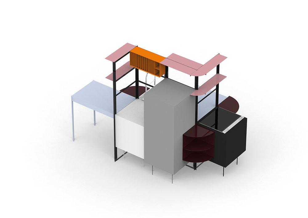 Tanita Klein – Herzstück Küche: Die TSL Küche von Tanita Klein verlagert die Küche von der Wand in die Raummitte und fördert Kommunikation und Flexibilität. Die zentrale Rahmenkonstruktion, an der neun unterschiedliche Elemente aus pulverbeschichtetem Stahl, Holz und Linoleum befestigt werden können, ermöglicht eine beidseitige Benutzung und verleiht der Küche Transparenz. (Foto: Tanita Klein; Koelnmesse)