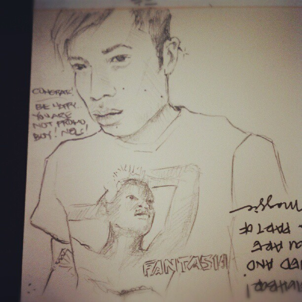 Nelson's drawing of me…wearing a fantasia shirt. (Taken with  Instagram )