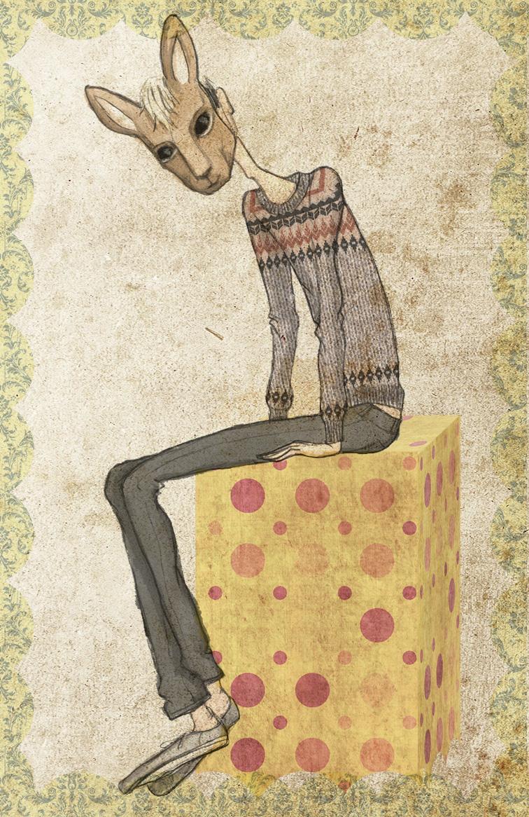 My latest self-illustration: Kangaroo Mask & Fair Isle Sweater.