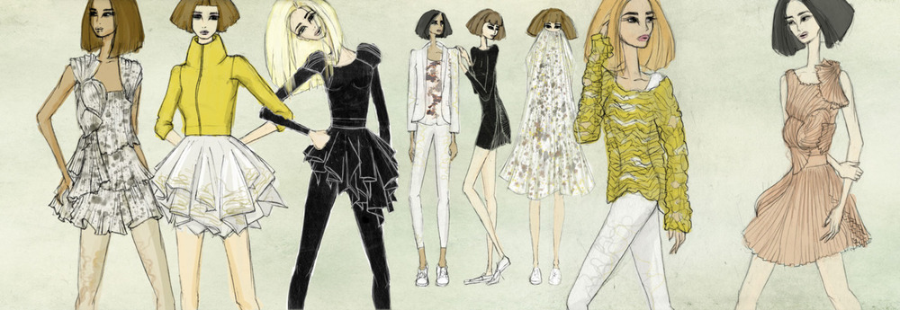 click for full size    i started this several months ago and put it aside and forgot about it. it is an illustration of my friend amy's final collection that she showed on project runway. i want do more fashion illustrations but don't really want to think about what to draw, so i figured it'd be a nice collaboration to use her pieces as a start. below are the runway shots of her collection.