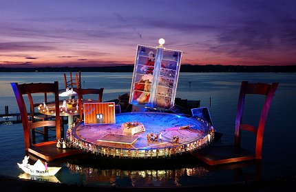 Holy amazing set design on the floating stage from the Bregenz Festival in Austria! I would LOVE to see a show here one day.               Aida           West Side Story