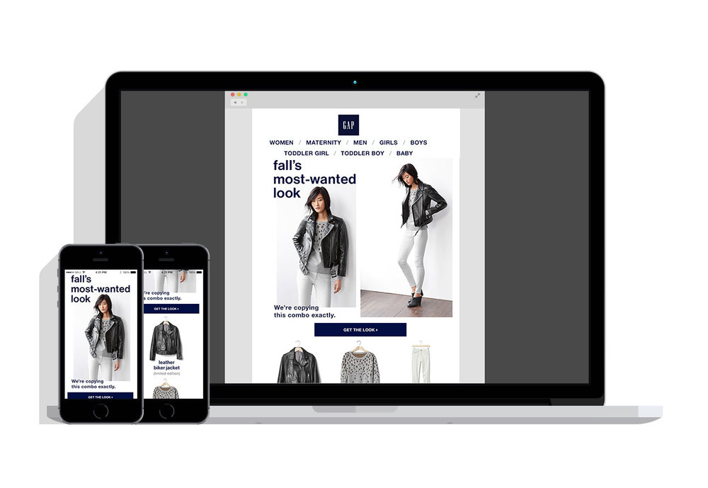 Responsive Email Design: Women's Outfitting - This email design automatically shifts based on the user's device. The message shows an outfit on a model and all of its components to recreate the look.