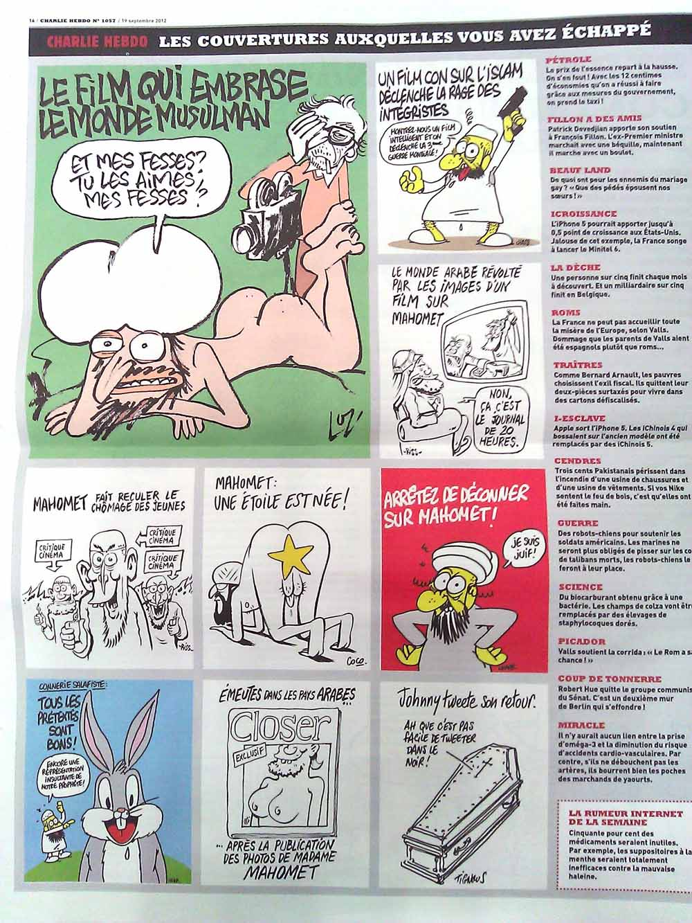 A few of Charlie Hebdo's rather controversial cartoons