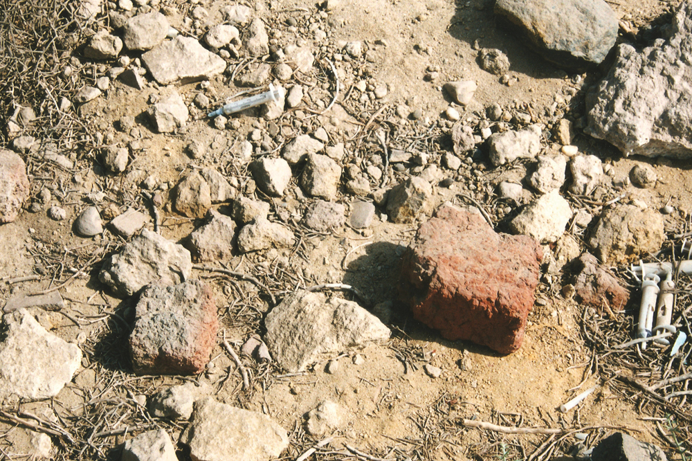 Article 0406: Drug use at the site is evident due to its relative isolation (photo by Dr. Joan Taylor)