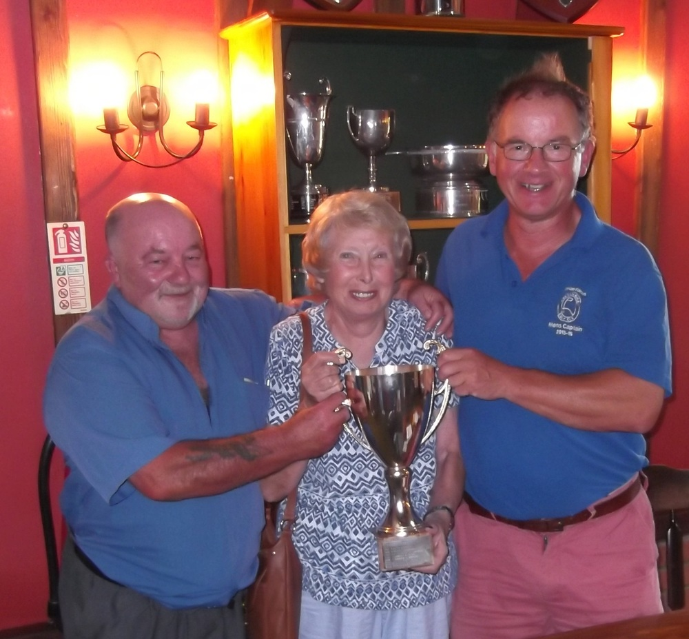 Colin Ellener and Brian Falcus, the winners of the Watt Cup with Shirley Watts