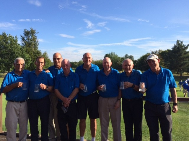 Sherman Read, Brian Taylor, Ray Pinner, Terry McCusker, Bill Weeks, Ray Rudland, Jeff Moore, Richard Fernley - pictured as final team with there runners up trophies. Thanks also to Tim Hinchcliffe, Colin Galpin and Paul Baker played in previous rounds.