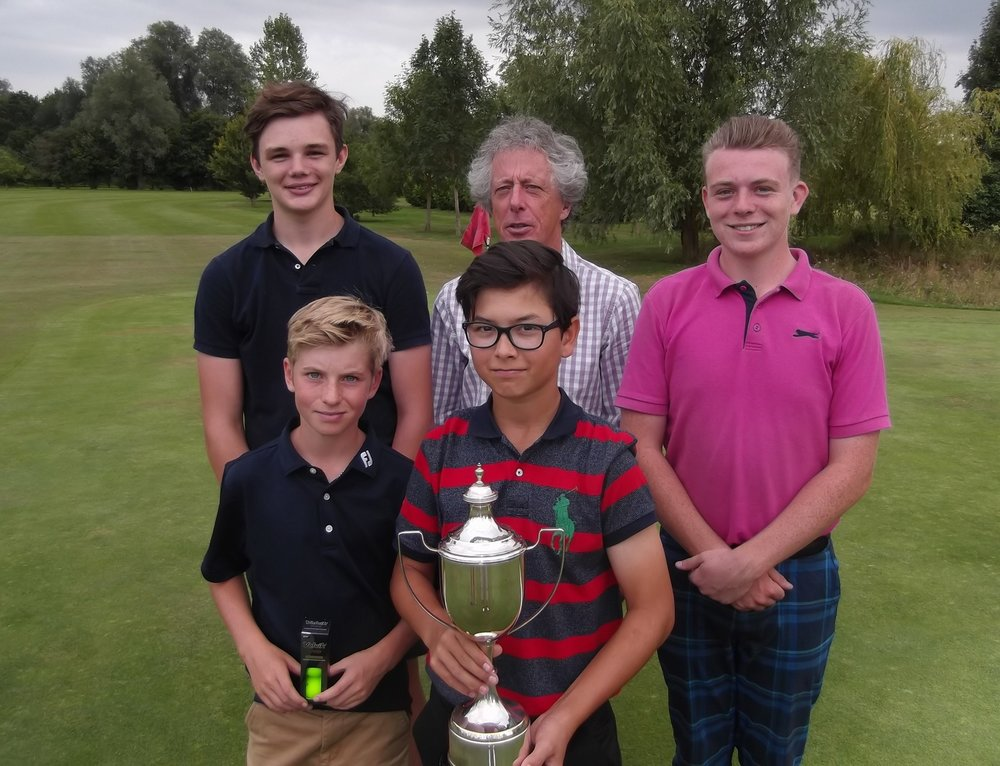 From Top left - IssacPowell, club captain Paul Baker, Sean Chadwick. Bottom left George Jackson, middle George Jackson with the trophy.