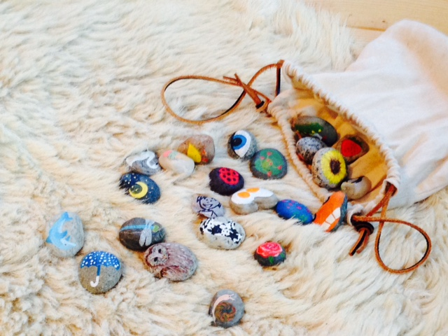 Story stones we use to spin tales at Forest School.