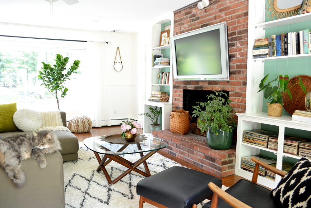 color, texture, vintage + modern = Sue's family room, from  www.rehabitatdesign.com