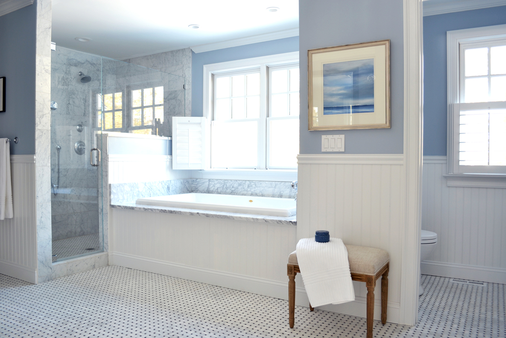 fresh blue, carrara marble mosaic floor and shower, nantucket style