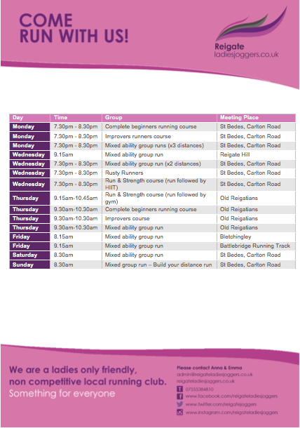 Check out our weekly timetable of runs and courses -