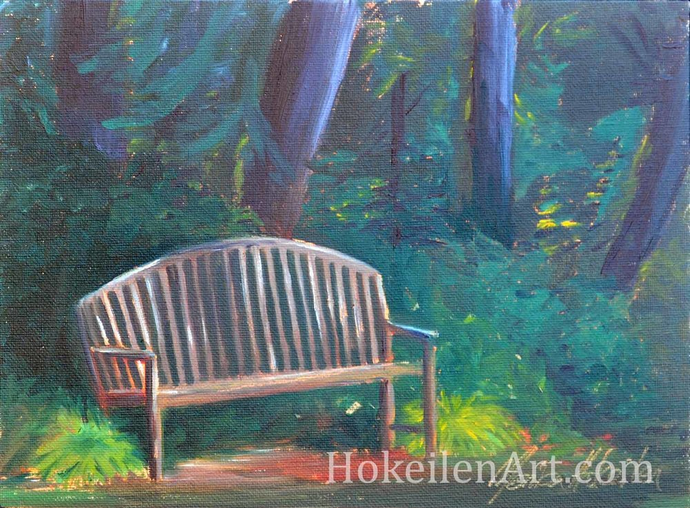 "A Bench in the Shade, oil on canvas board, oil on canvas board, 8""x10"""