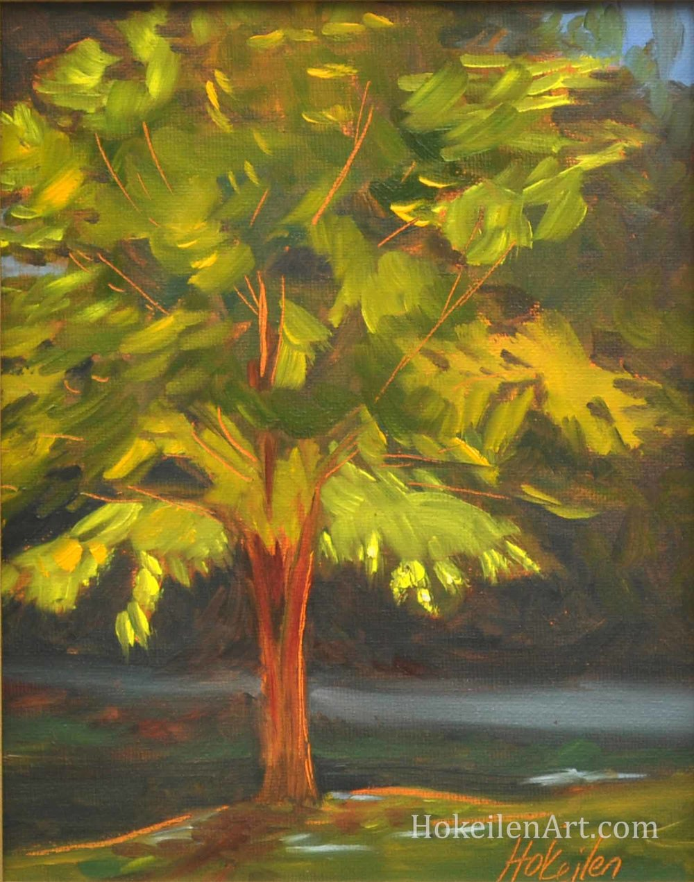 "Standing in the Light at Green Spring Garden, oil on canvas board, 8""x10"""