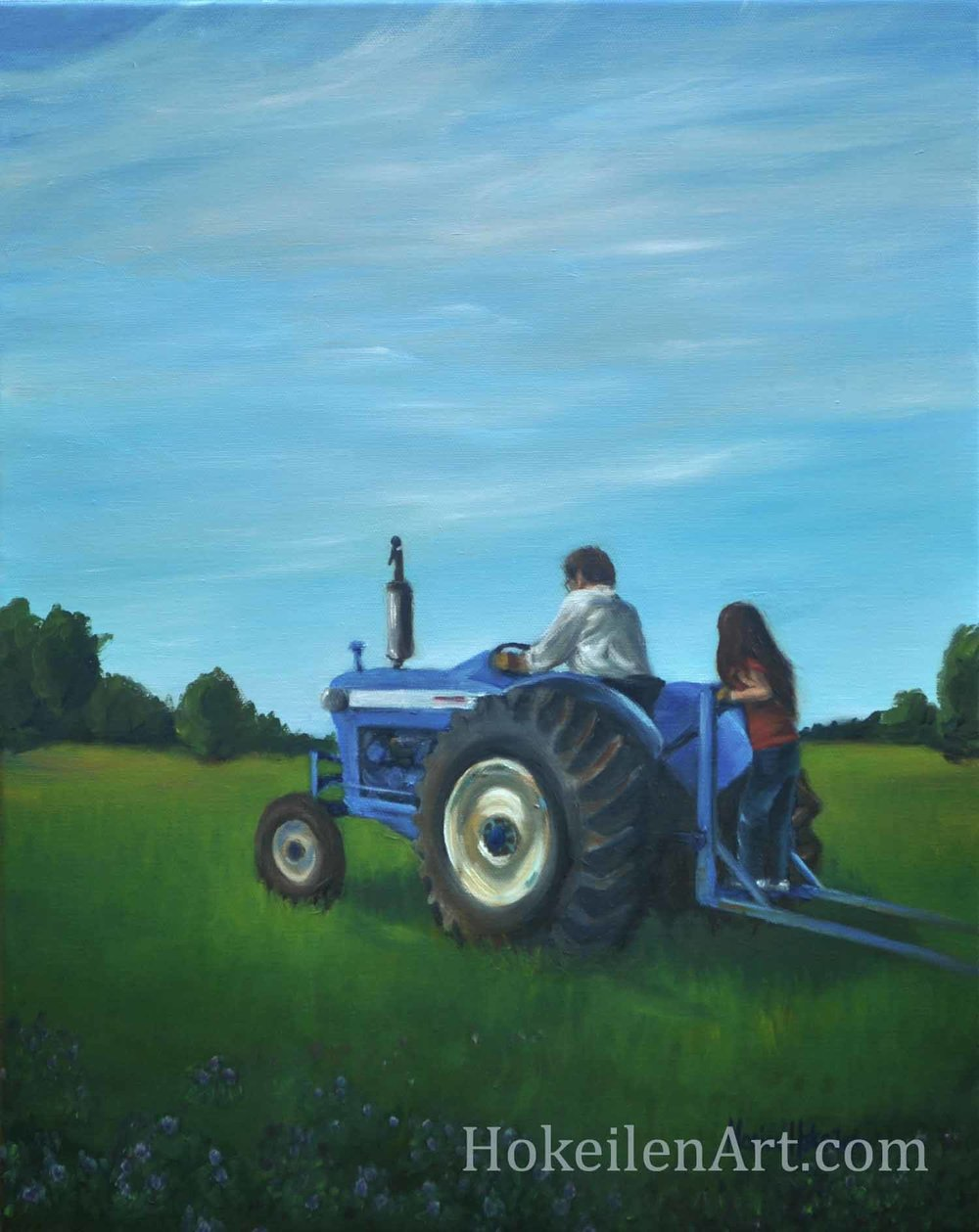 "Tractor Ride, oil on canvas, 16""x20"""