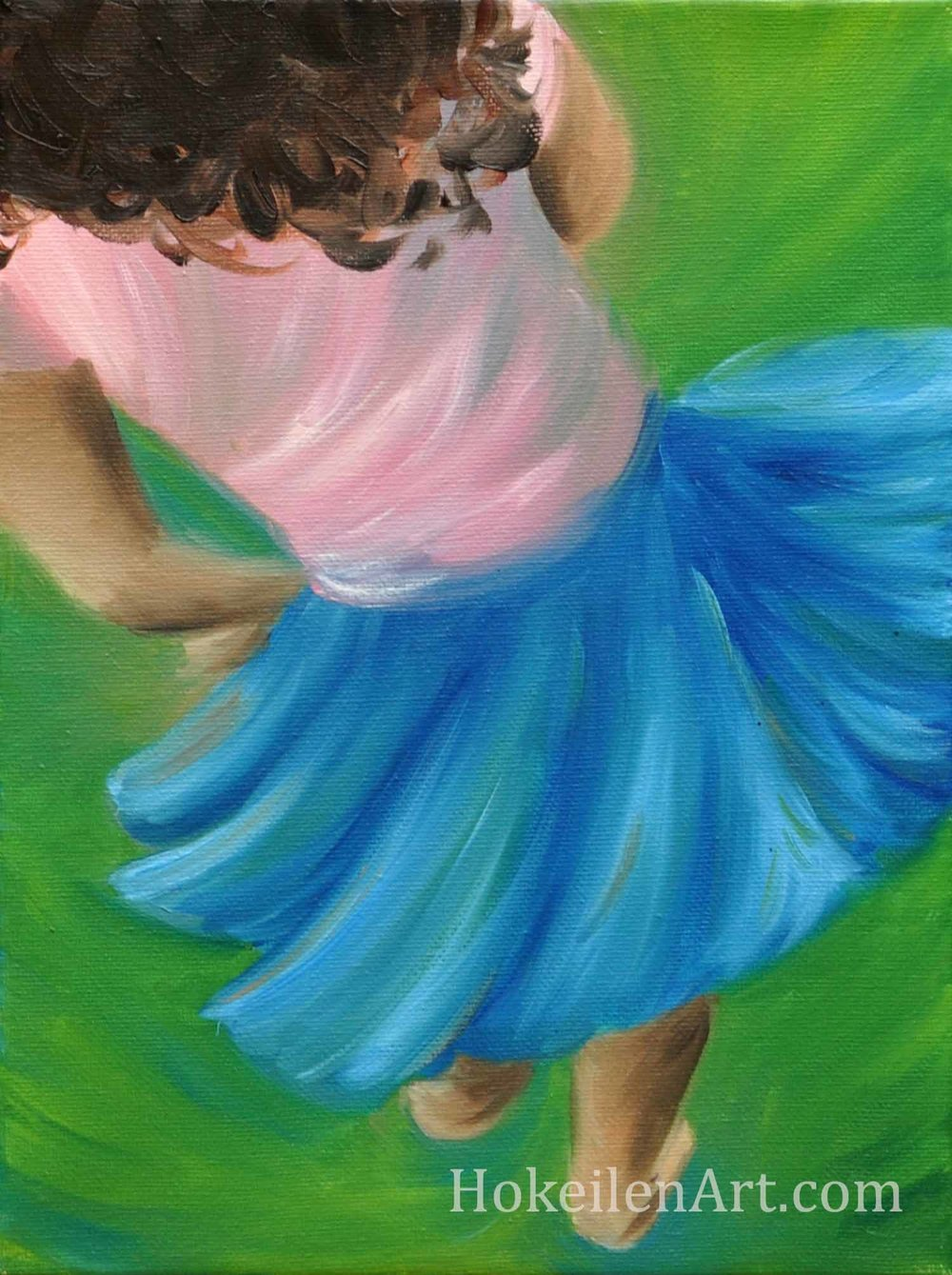 "Twirling Girl, oil on canvas, 9""x12"""