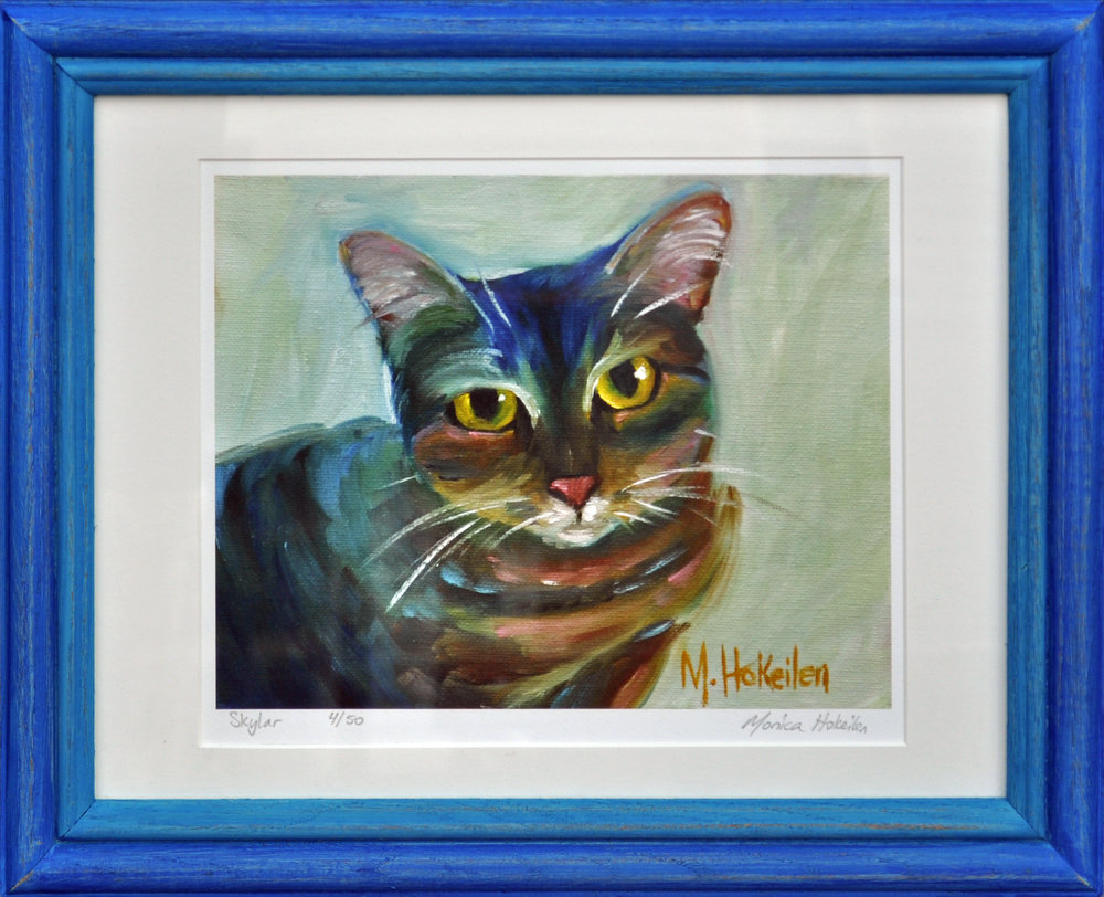 Skylar Cat, matted and framed fine art print