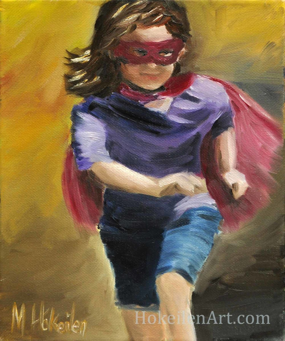 "Super Girl, oil on canvas, 9""x12"""
