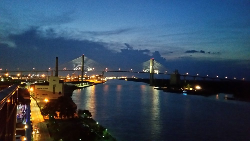 The view from a Savannah rooftop bar along the river. For years I've been thinking about painting a few nightscapes - I have several in mind - and this photo, with its glowing sky and yellow street lights and reflections on the water, will be a useful reference for me.